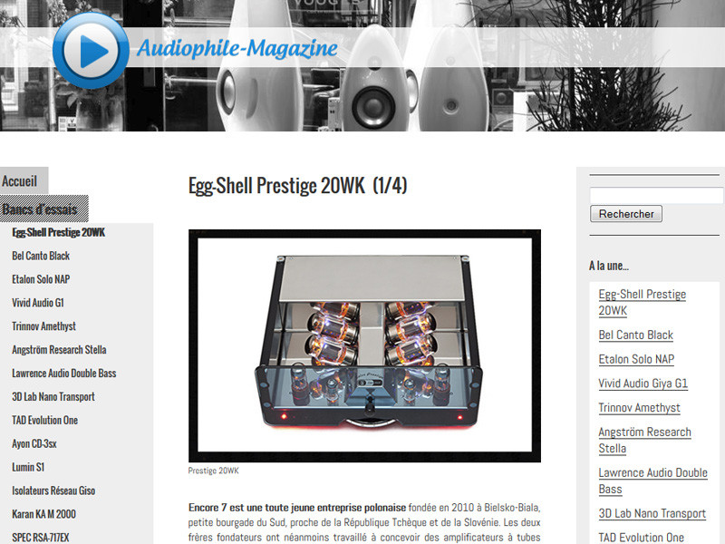 Egg-SHell Prestige 20WK – the review in French magazine
